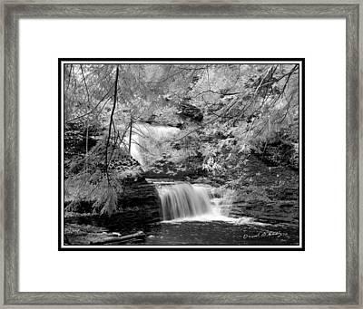 Infrared Upper Buttermilk Falls 10 Framed Print by David Blatchley