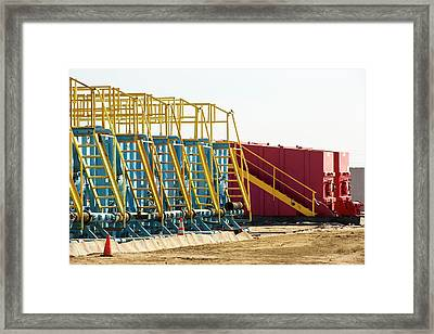 Infrastructure On A Fracking Site Framed Print by Ashley Cooper
