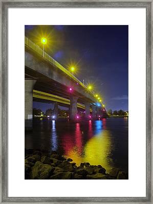 Ingraham Street Bridge At Night Framed Print