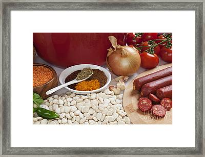 Ingredients For Spanish Chorizo Soup Framed Print