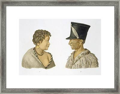 Inhabitants Of New Zealand, 1826 Framed Print by French School