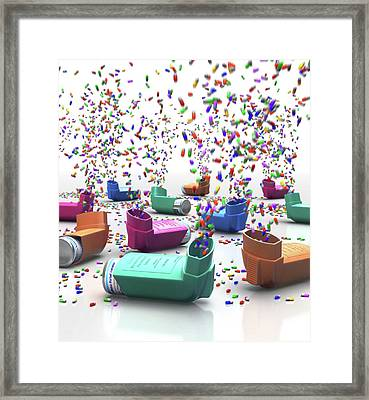 Inhalers And Drugs Framed Print by Animated Healthcare Ltd