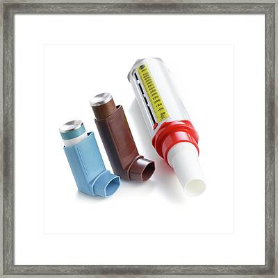 Inhalers Framed Print by Science Photo Library