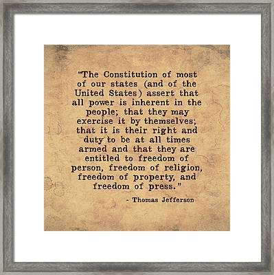 Inherent Power And Freedoms Framed Print