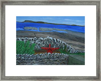 Inis Meain 19 Scarecrow In Red Framed Print by Roland LaVallee
