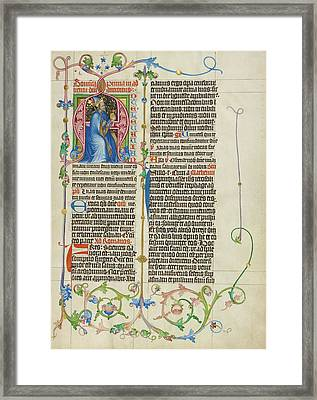 Initial A King David Enthroned Master Michael, Austrian Framed Print by Litz Collection