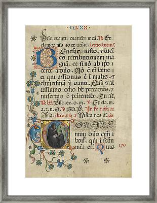 Initial C Saint Benedict Blessing Maurus Unknown Italy Framed Print by Litz Collection