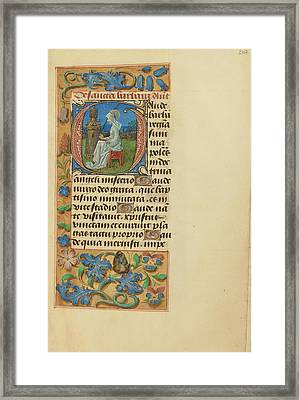 Initial G Saint Barbara Master Of The Dresden Prayer Book Framed Print by Litz Collection