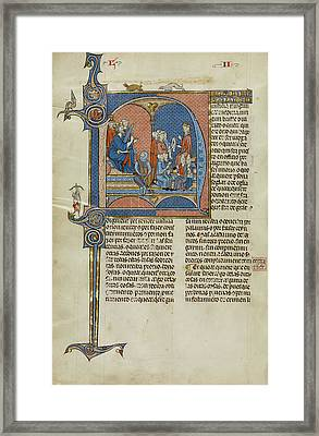 Initial N King James I Of Aragon Overseeing A Court Of Law Framed Print by Litz Collection