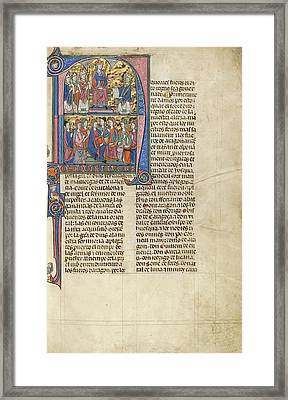 Initial N Vidal De Canellas Offering His Text To King James Framed Print
