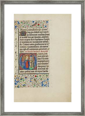 Initial O Saint Barbara Before A Tower Master Framed Print by Litz Collection