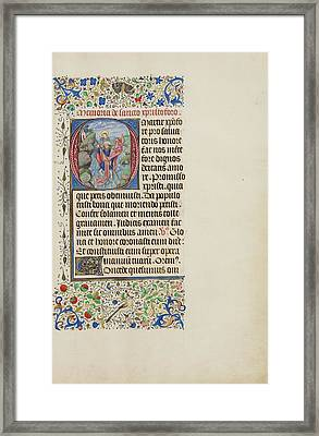 Initial O Saint Christopher Carrying The Christ Child Framed Print by Litz Collection