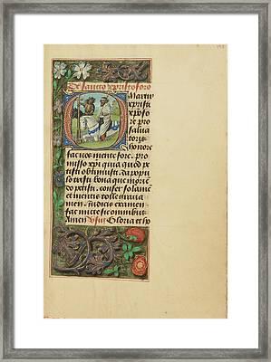 Initial O Saint Christopher Master Of The Dresden Prayer Framed Print