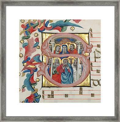 Initial S  Pentecost Niccolò Di Giacomo Da Bologna Framed Print by Litz Collection