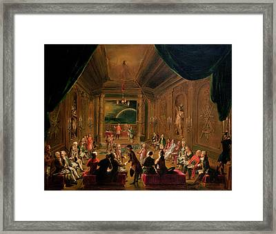 Initiation Ceremony In A Viennese Masonic Lodge During The Reign Of Joseph II, With Mozart Seated Framed Print by Ignaz Unterberger