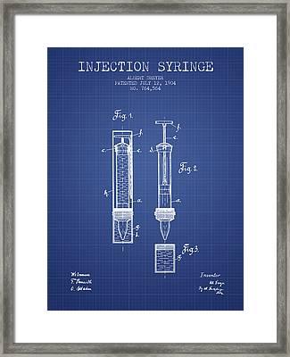 Injection Syringe Patent From 1904 - Blueprint Framed Print