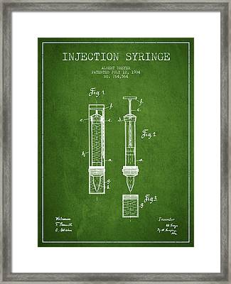 Injection Syringe Patent From 1904 - Green Framed Print