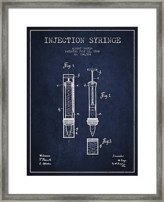 Injection Syringe Patent From 1904 - Navy Blue Framed Print