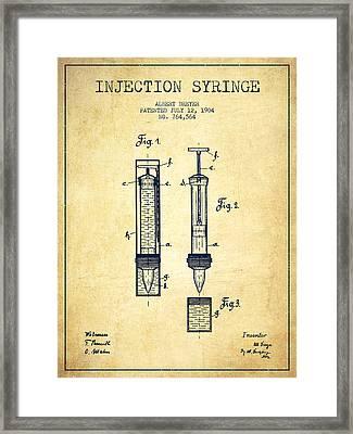 Injection Syringe Patent From 1904 - Vintage Framed Print