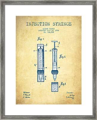Injection Syringe Patent From 1904 - Vintage Paper Framed Print