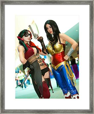 Injustice Harley Quinn And Injustice Wonder Woman Framed Print by Andreas Schneider