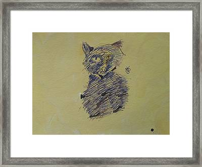 Framed Print featuring the drawing Ink Cat by AJ Brown