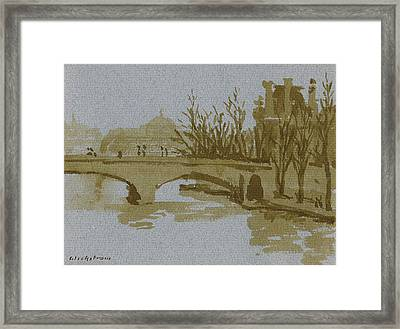 Ink Drawing Pont Du Carrousel Paris Framed Print by Thor WickstromInk Drawing Pont