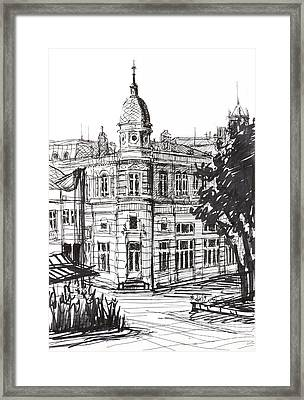 Ink Graphics Of An Old Building In Bulgaria Framed Print by Kiril Stanchev