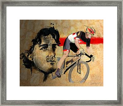 Ink Portrait Illustration Print Of Cycling Athlete Fabian Cancellara Framed Print