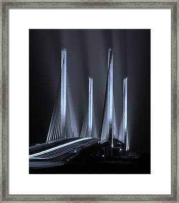 Inlet Bridge Light Trails In Cyan Framed Print