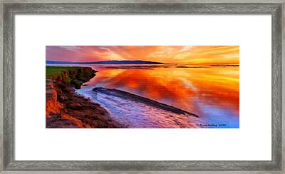 Framed Print featuring the painting Inlet Sunset by Bruce Nutting