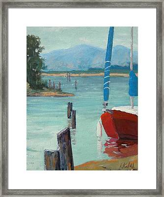 Inlet With Sailboat    Laconner Wa Framed Print by Raymond Kaler