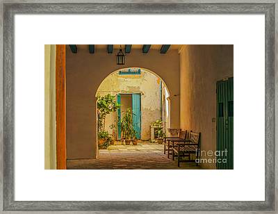 Inner Courtyard In Caribbean House Framed Print