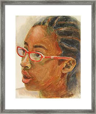 Inquisitive Girl Framed Print by Xueling Zou