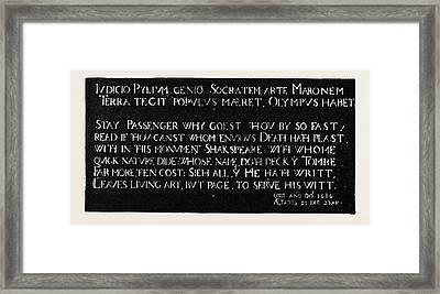 Inscription On The Memorial Tablet To Shakespeare Framed Print