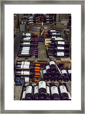Inside A French Wine Store Framed Print