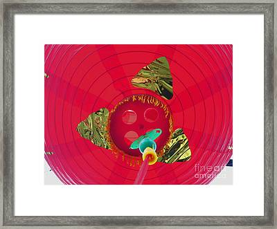 Inside A Red Chinese Lantern Framed Print by Kym Backland