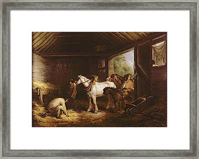 Inside A Stable Oil On Canvas Framed Print