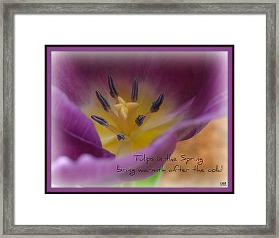 Framed Print featuring the photograph Inside A Tulip by Heidi Manly