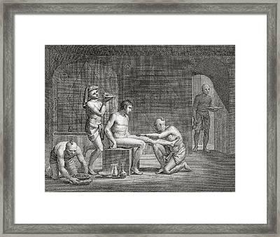 Inside An Egyptian Bathhouse, C.1820s Framed Print