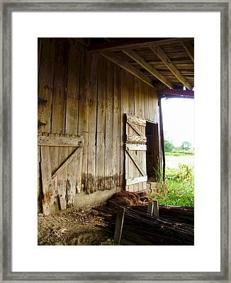Inside An Indiana Barn Framed Print by Julie Dant