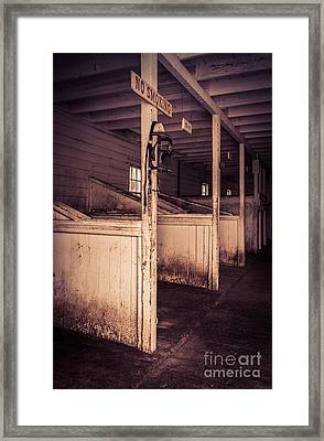Inside An Old Horse Barn Framed Print by Edward Fielding
