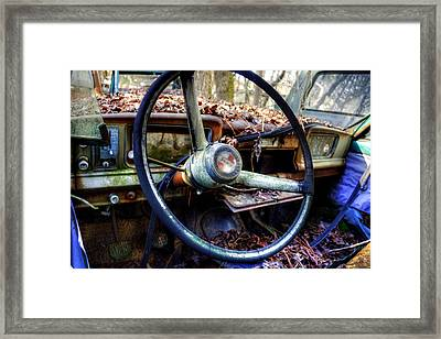 Inside An Old Jeep Framed Print