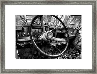Inside An Old Jeep In Black And White Framed Print