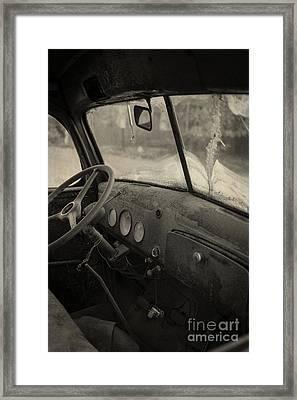 Inside An Old Junker Car Framed Print
