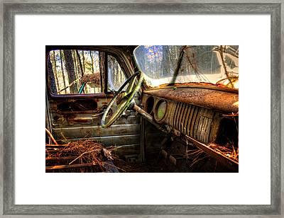Inside An Old Truck Framed Print
