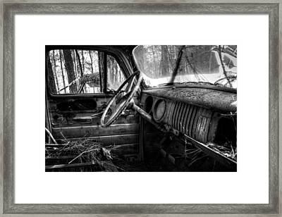 Inside An Old Truck In Black And White Framed Print