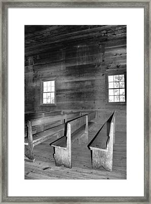 Inside Cades Cove Primitive Baptist Church Framed Print by Dan Sproul