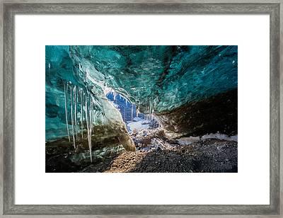 Inside Glacial Ice Cave Framed Print