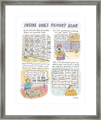 'inside One's Memory Bank' Framed Print by Roz Chast